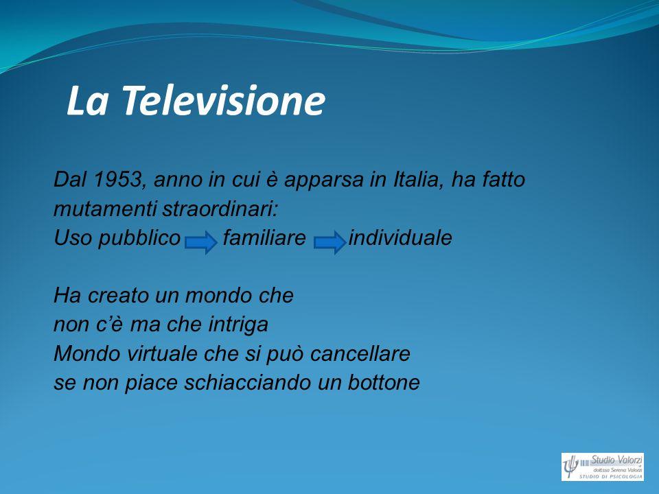 La Televisione Dal 1953, anno in cui è apparsa in Italia, ha fatto mutamenti straordinari: Uso pubblico familiare individuale Ha creato un mondo che n