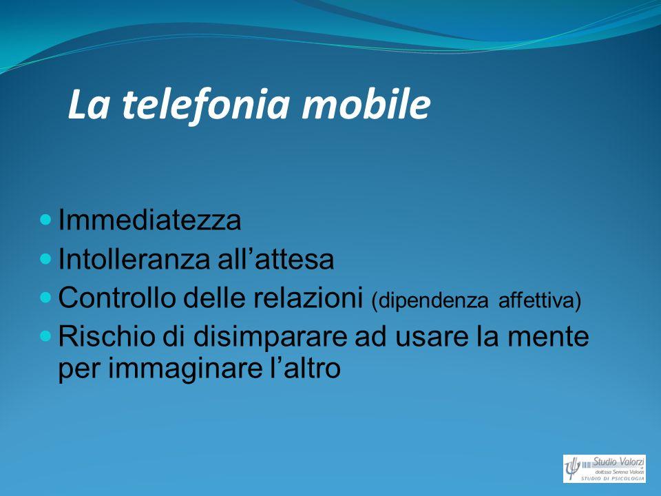 La telefonia mobile Immediatezza Intolleranza allattesa Controllo delle relazioni (dipendenza affettiva) Rischio di disimparare ad usare la mente per