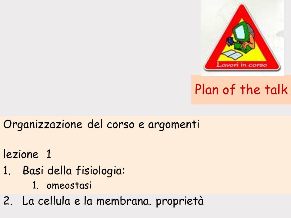 Plan of the talk Organizzazione del corso e argomenti lezione 1 1.Basi della fisiologia: 1.omeostasi 2.La cellula e la membrana.