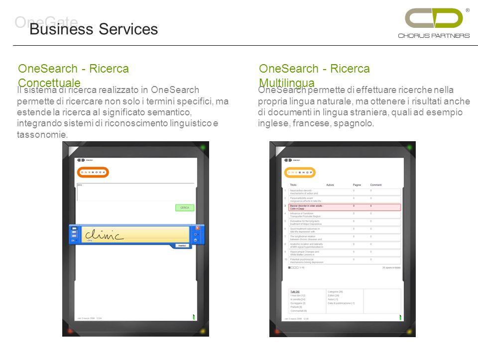 OneSearch - Ricerca Concettuale Il sistema di ricerca realizzato in OneSearch permette di ricercare non solo i termini specifici, ma estende la ricerca al significato semantico, integrando sistemi di riconoscimento linguistico e tassonomie.