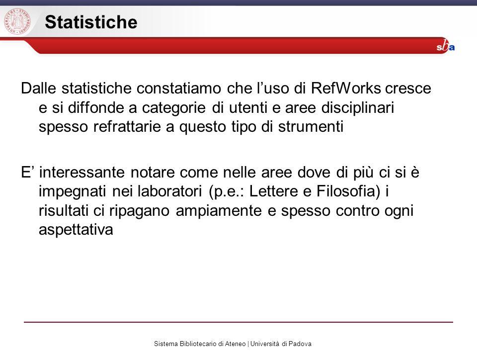 Sistema Bibliotecario di Ateneo | Università di Padova Statistiche Dalle statistiche constatiamo che luso di RefWorks cresce e si diffonde a categorie