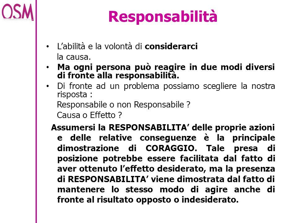 Responsabilità Labilità e la volontà di considerarci la causa. Ma ogni persona può reagire in due modi diversi di fronte alla responsabilità. Di front
