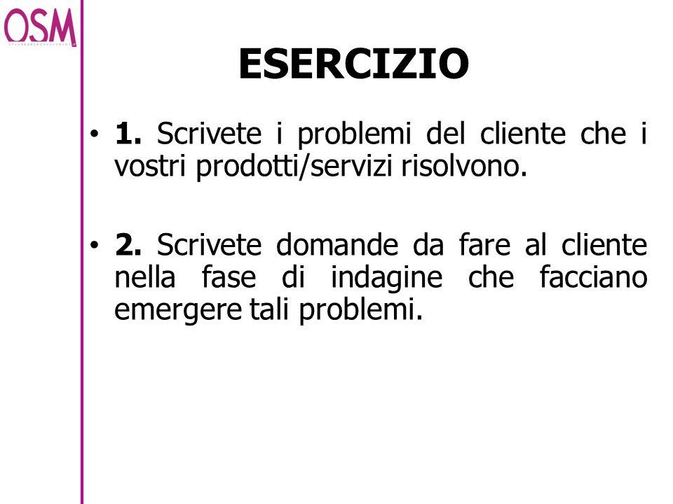 ESERCIZIO 1. Scrivete i problemi del cliente che i vostri prodotti/servizi risolvono. 2. Scrivete domande da fare al cliente nella fase di indagine ch