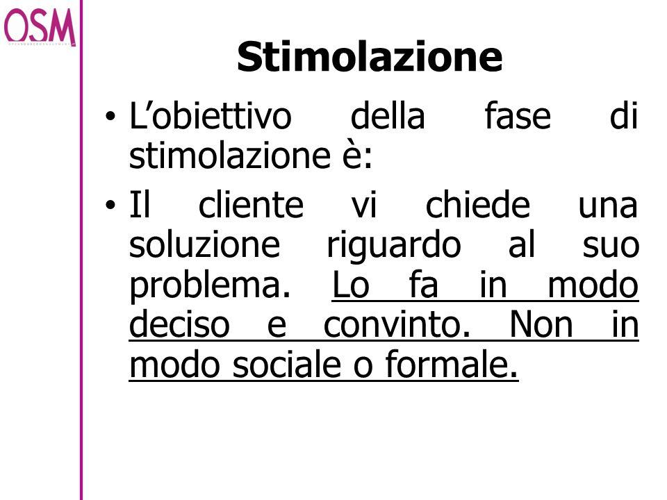 Stimolazione Lobiettivo della fase di stimolazione è: Il cliente vi chiede una soluzione riguardo al suo problema. Lo fa in modo deciso e convinto. No