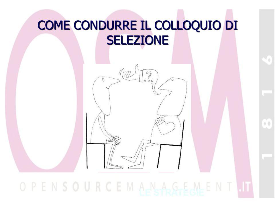 COME CONDURRE IL COLLOQUIO DI SELEZIONE LE STRATEGIE