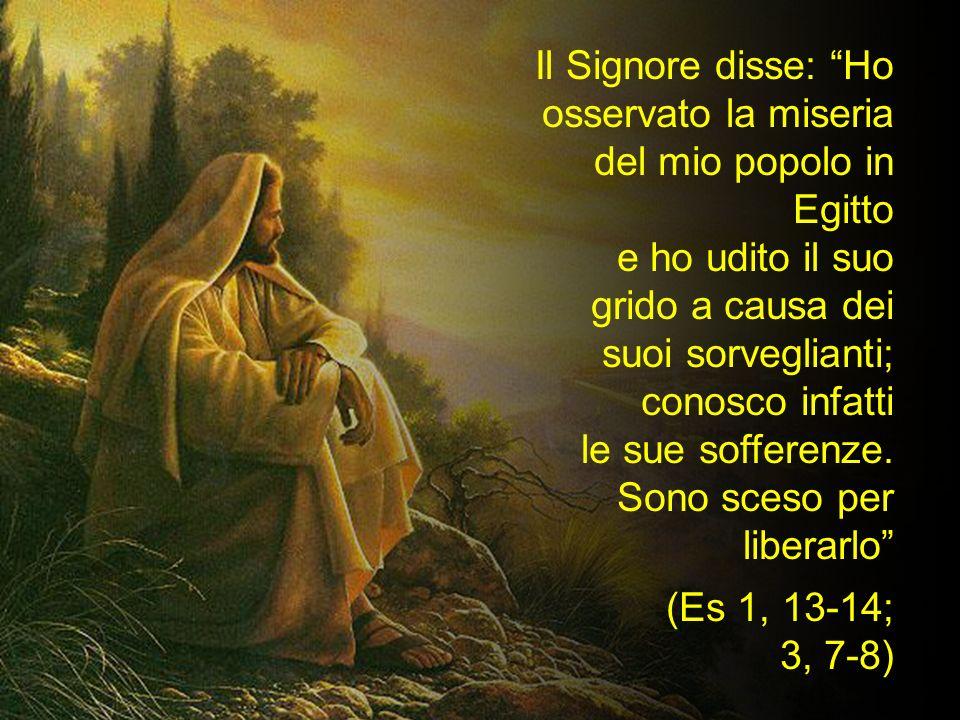 Il Signore disse: Ho osservato la miseria del mio popolo in Egitto e ho udito il suo grido a causa dei suoi sorveglianti; conosco infatti le sue soffe