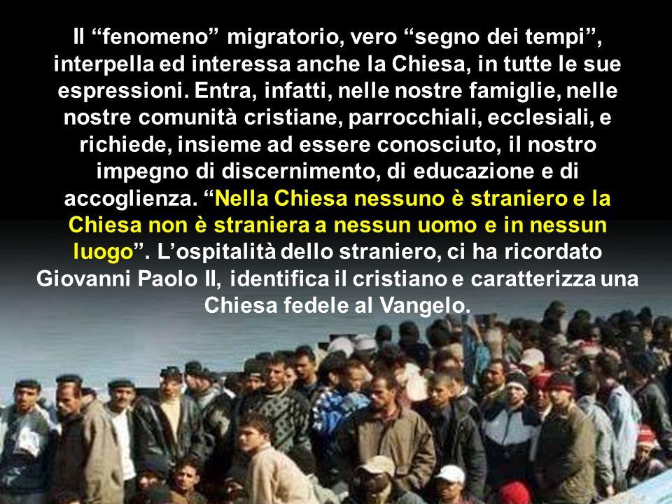 Il fenomeno migratorio, vero segno dei tempi, interpella ed interessa anche la Chiesa, in tutte le sue espressioni. Entra, infatti, nelle nostre famig