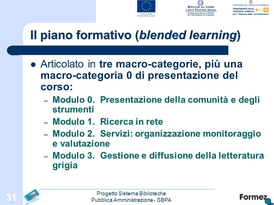 Progetto Sistema Biblioteche Pubblica Amministrazione - SBPA 31 Il piano formativo (blended learning) Articolato in tre macro-categorie, più una macro-categoria 0 di presentazione del corso: – Modulo 0.