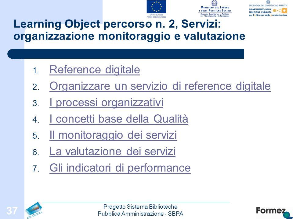 Progetto Sistema Biblioteche Pubblica Amministrazione - SBPA 37 Learning Object percorso n.