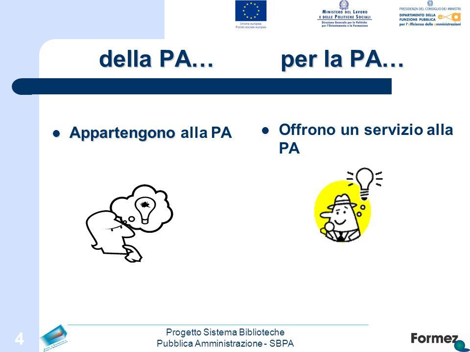 Progetto Sistema Biblioteche Pubblica Amministrazione - SBPA 4 della PA… per la PA… Appartengono Appartengono alla PA Offrono un servizio alla PA