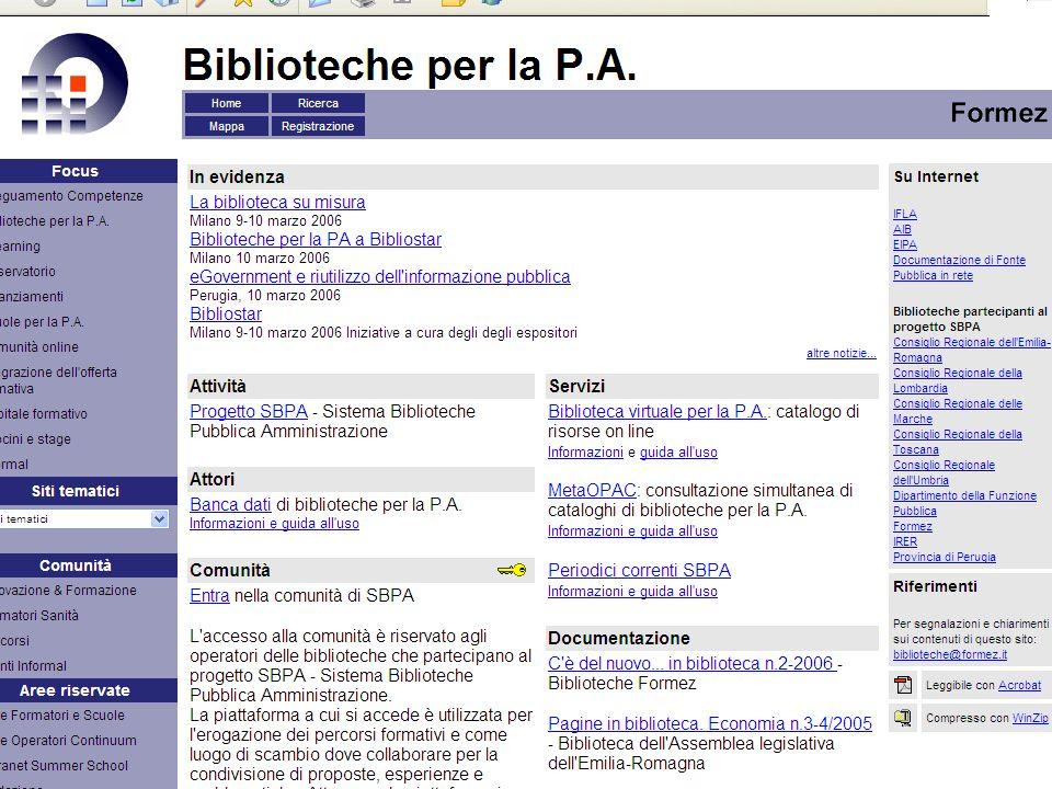 Progetto Sistema Biblioteche Pubblica Amministrazione - SBPA 8