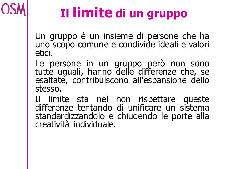 Il limite di un gruppo Un gruppo è un insieme di persone che ha uno scopo comune e condivide ideali e valori etici.