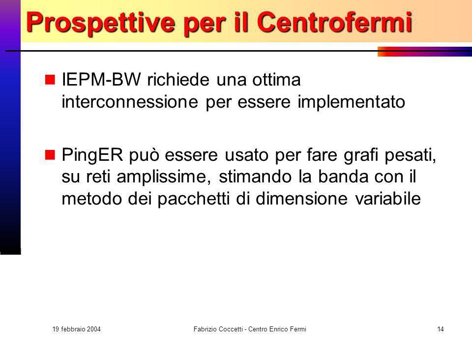 19 febbraio 2004 Fabrizio Coccetti - Centro Enrico Fermi14 Prospettive per il Centrofermi IEPM-BW richiede una ottima interconnessione per essere impl