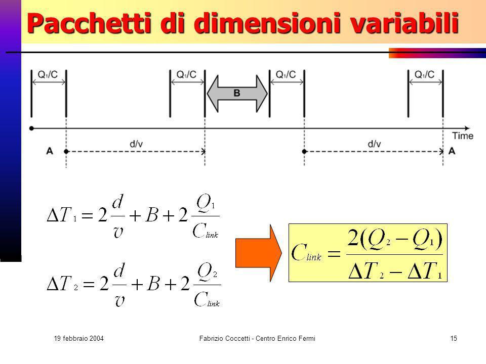 19 febbraio 2004 Fabrizio Coccetti - Centro Enrico Fermi15 Pacchetti di dimensioni variabili