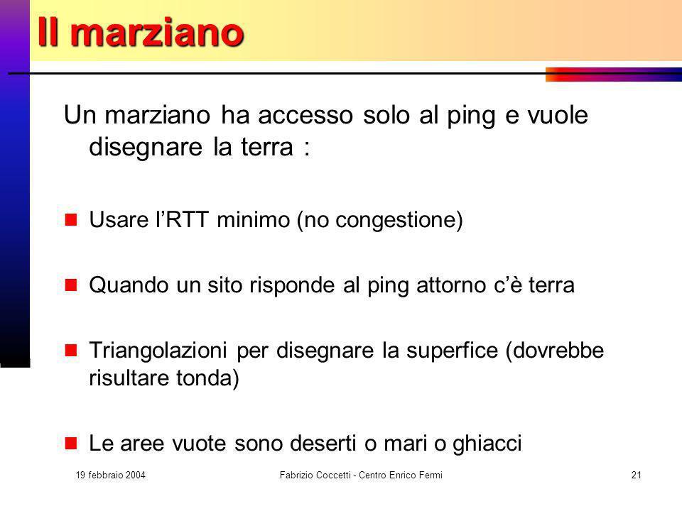 19 febbraio 2004 Fabrizio Coccetti - Centro Enrico Fermi21 Il marziano Un marziano ha accesso solo al ping e vuole disegnare la terra : Usare lRTT min