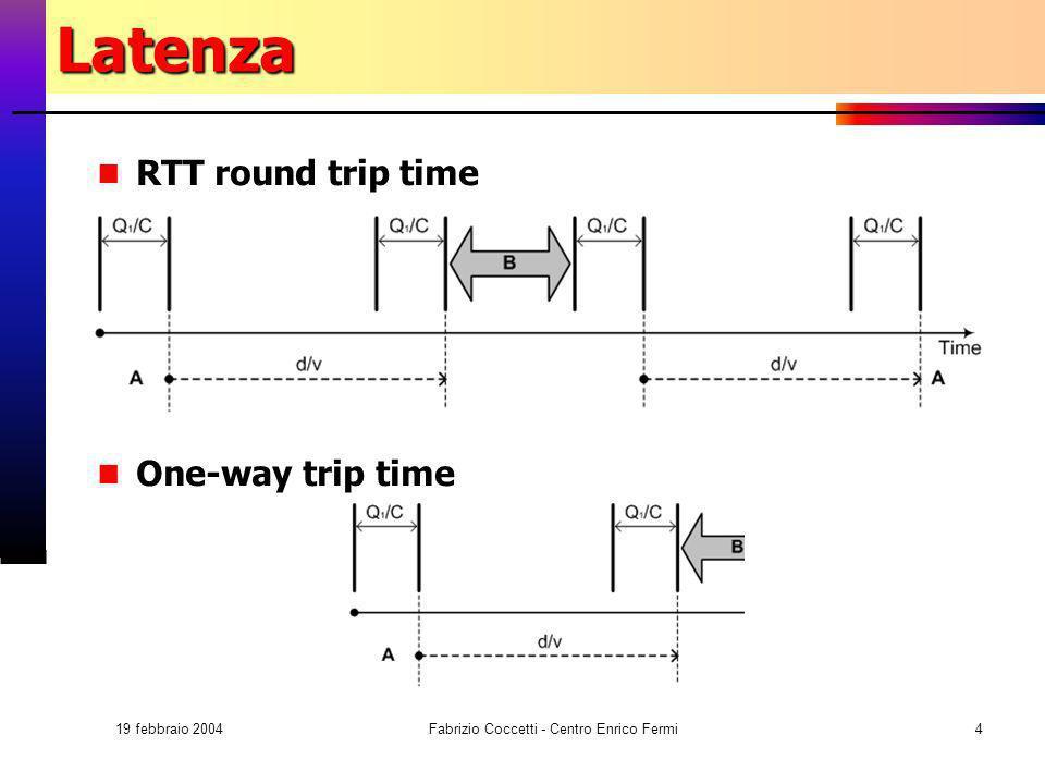 19 febbraio 2004 Fabrizio Coccetti - Centro Enrico Fermi4Latenza RTT round trip time One-way trip time