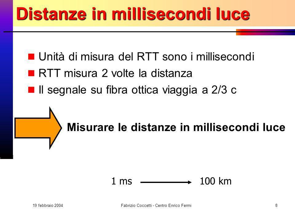 19 febbraio 2004 Fabrizio Coccetti - Centro Enrico Fermi8 Distanze in millisecondi luce Unità di misura del RTT sono i millisecondi RTT misura 2 volte