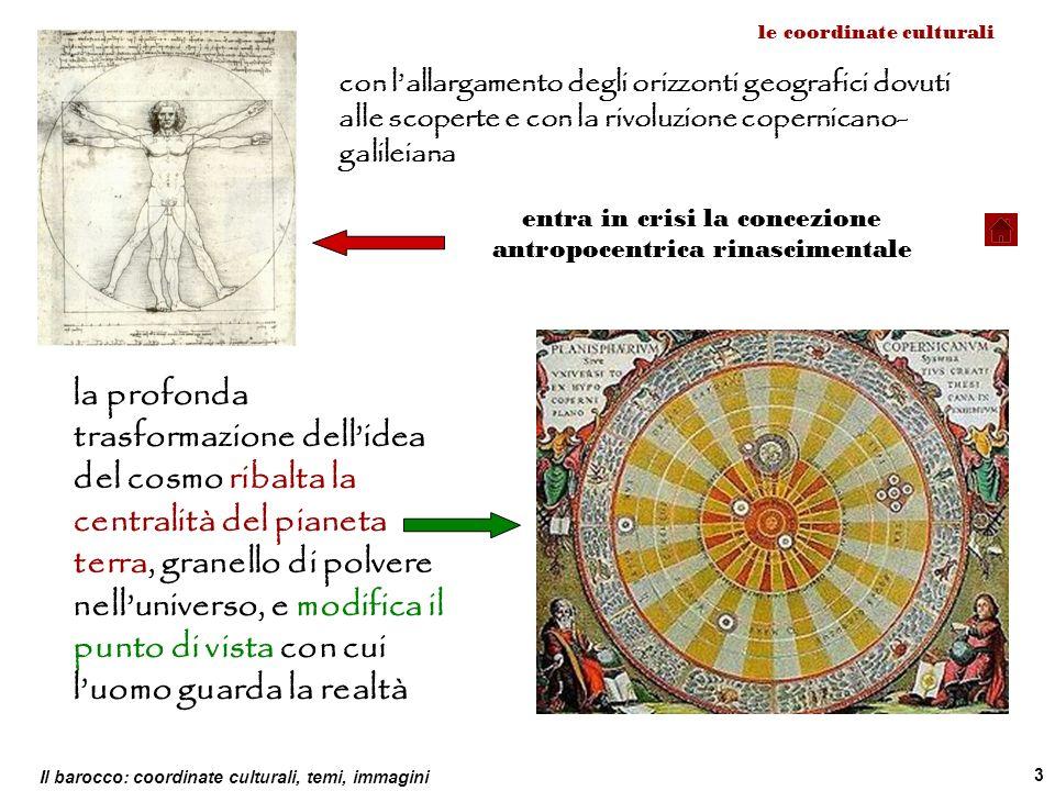 Il barocco: coordinate culturali, temi, immagini 3 le coordinate culturali con lallargamento degli orizzonti geografici dovuti alle scoperte e con la