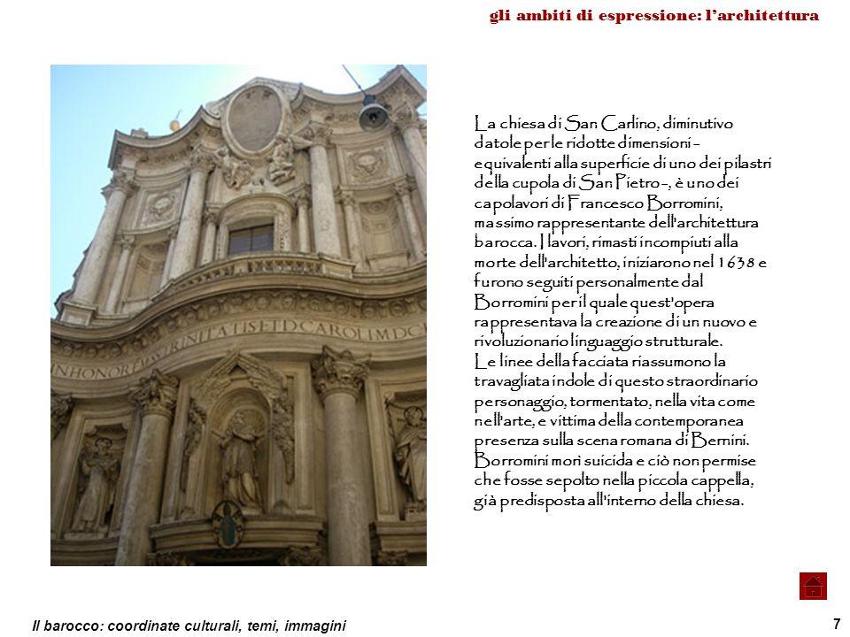 Il barocco: coordinate culturali, temi, immagini 7 La chiesa di San Carlino, diminutivo datole per le ridotte dimensioni - equivalenti alla superficie