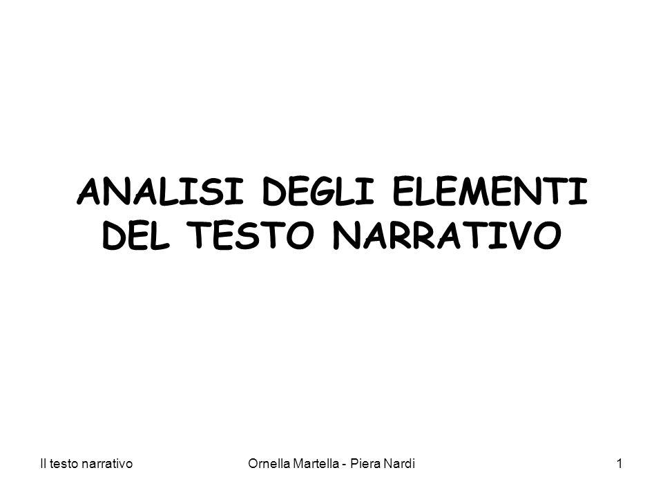 Il testo narrativoOrnella Martella - Piera Nardi1 ANALISI DEGLI ELEMENTI DEL TESTO NARRATIVO
