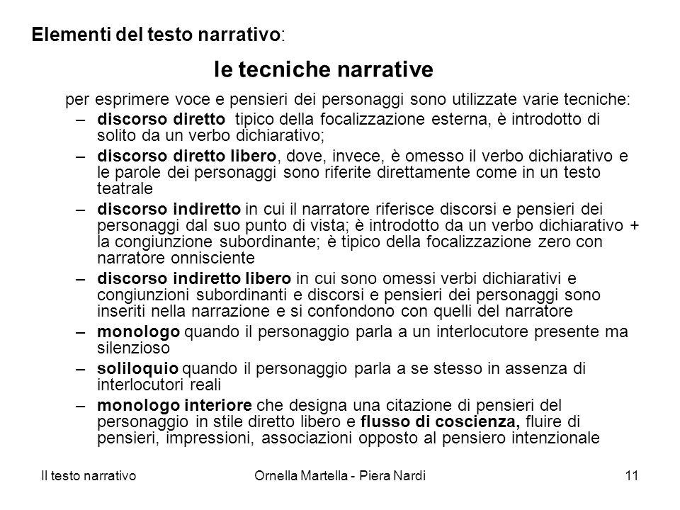 Il testo narrativoOrnella Martella - Piera Nardi11 Elementi del testo narrativo: per esprimere voce e pensieri dei personaggi sono utilizzate varie te