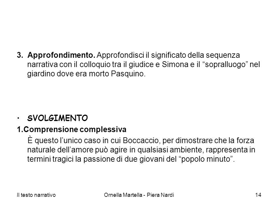 Il testo narrativoOrnella Martella - Piera Nardi14 3. Approfondimento. Approfondisci il significato della sequenza narrativa con il colloquio tra il g