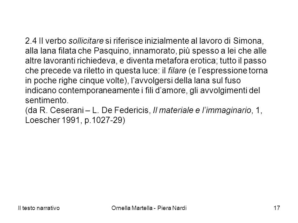 Il testo narrativoOrnella Martella - Piera Nardi17 2.4 Il verbo sollicitare si riferisce inizialmente al lavoro di Simona, alla lana filata che Pasqui