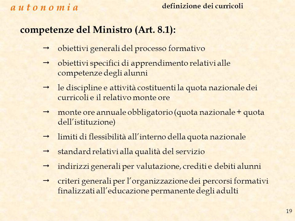 19 competenze del Ministro (Art. 8.1): obiettivi generali del processo formativo obiettivi specifici di apprendimento relativi alle competenze degli a