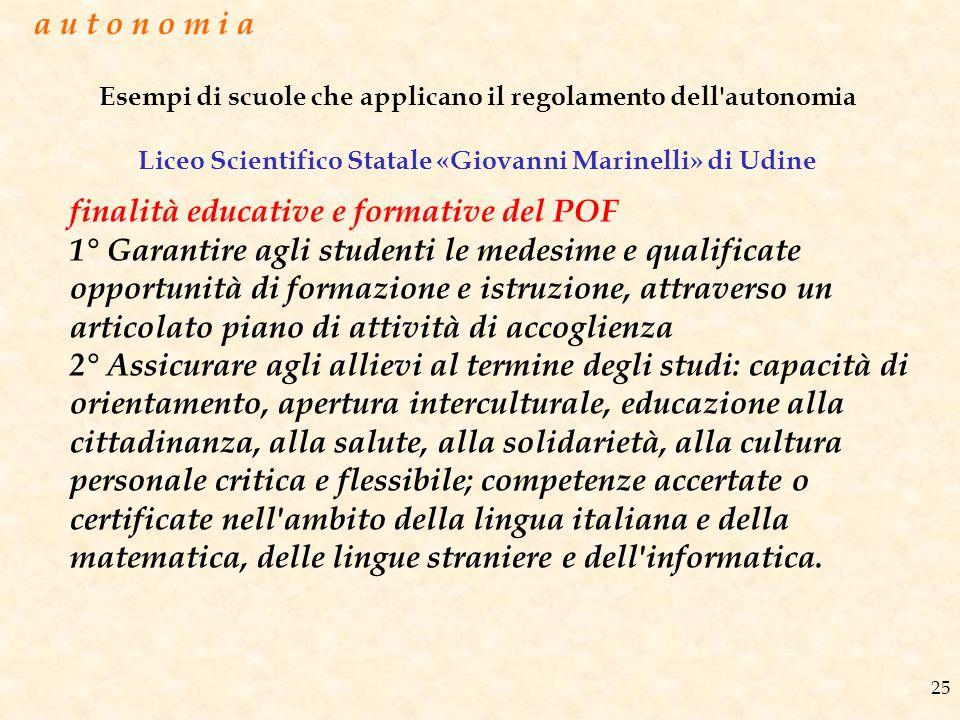 Esempi di scuole che applicano il regolamento dell'autonomia Liceo Scientifico Statale «Giovanni Marinelli» di Udine 25 finalità educative e formative