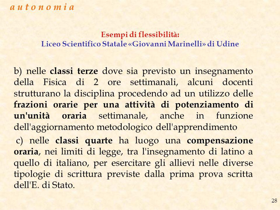 Esempi di flessibilità: Liceo Scientifico Statale «Giovanni Marinelli» di Udine b) nelle classi terze dove sia previsto un insegnamento della Fisica d