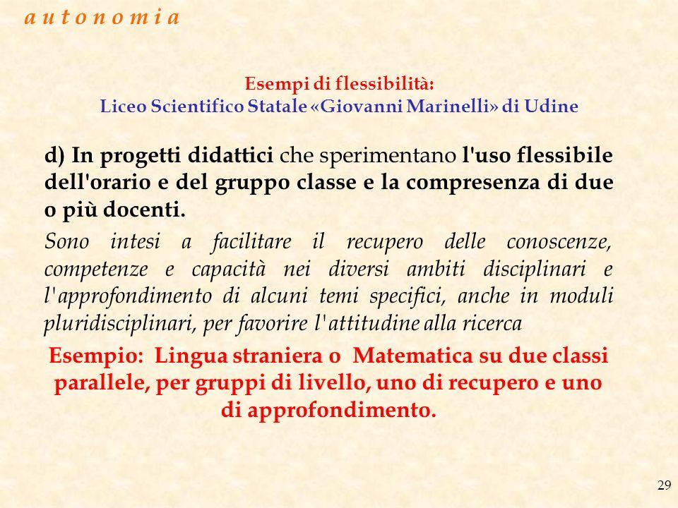 Esempi di flessibilità: Liceo Scientifico Statale «Giovanni Marinelli» di Udine d) In progetti didattici che sperimentano l'uso flessibile dell'orario