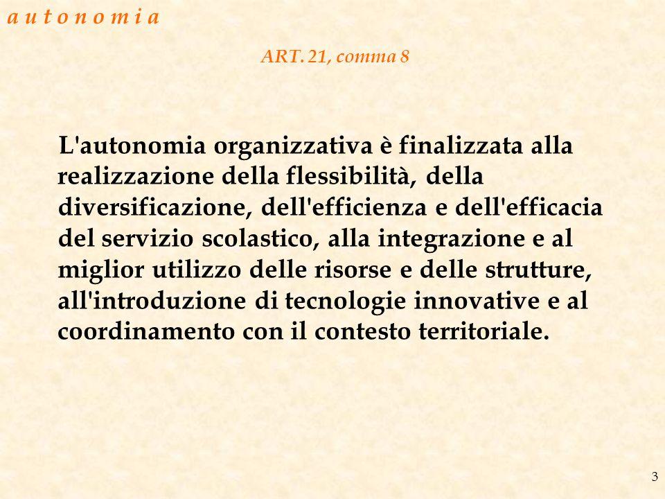 ART. 21, comma 8 L'autonomia organizzativa è finalizzata alla realizzazione della flessibilità, della diversificazione, dell'efficienza e dell'efficac