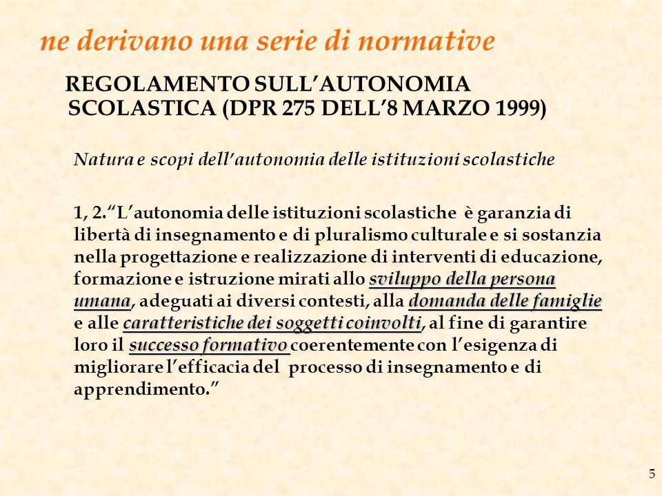 ne derivano una serie di normative REGOLAMENTO SULLAUTONOMIA SCOLASTICA (DPR 275 DELL8 MARZO 1999) 5 Natura e scopi dellautonomia delle istituzioni sc