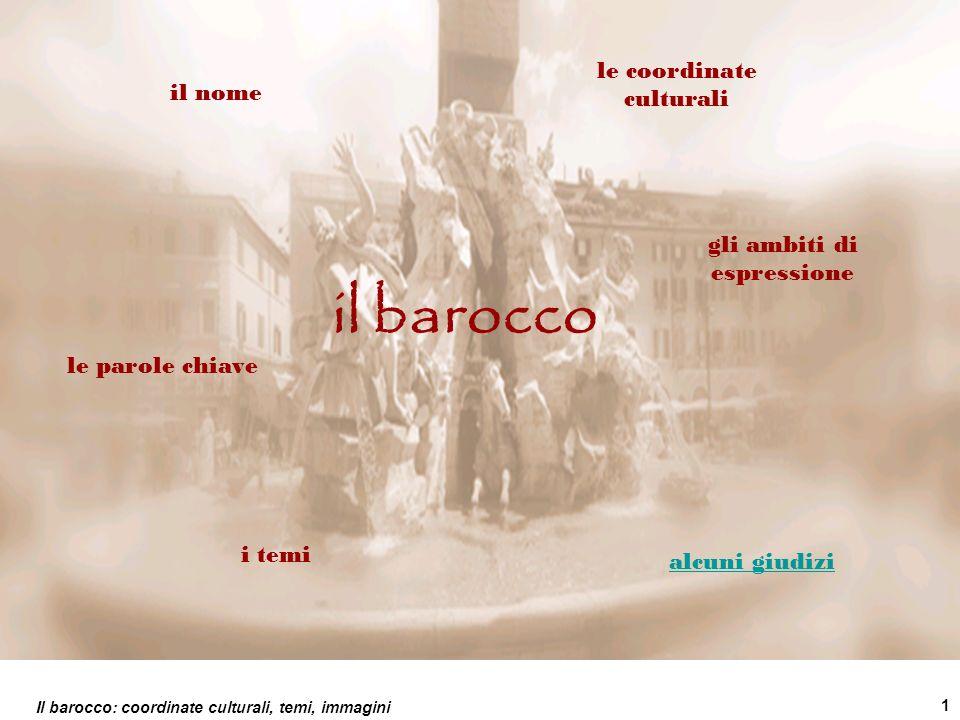 Il barocco: coordinate culturali, temi, immagini 1 il barocco le coordinate culturali il nome le parole chiave gli ambiti di espressione i temi alcuni