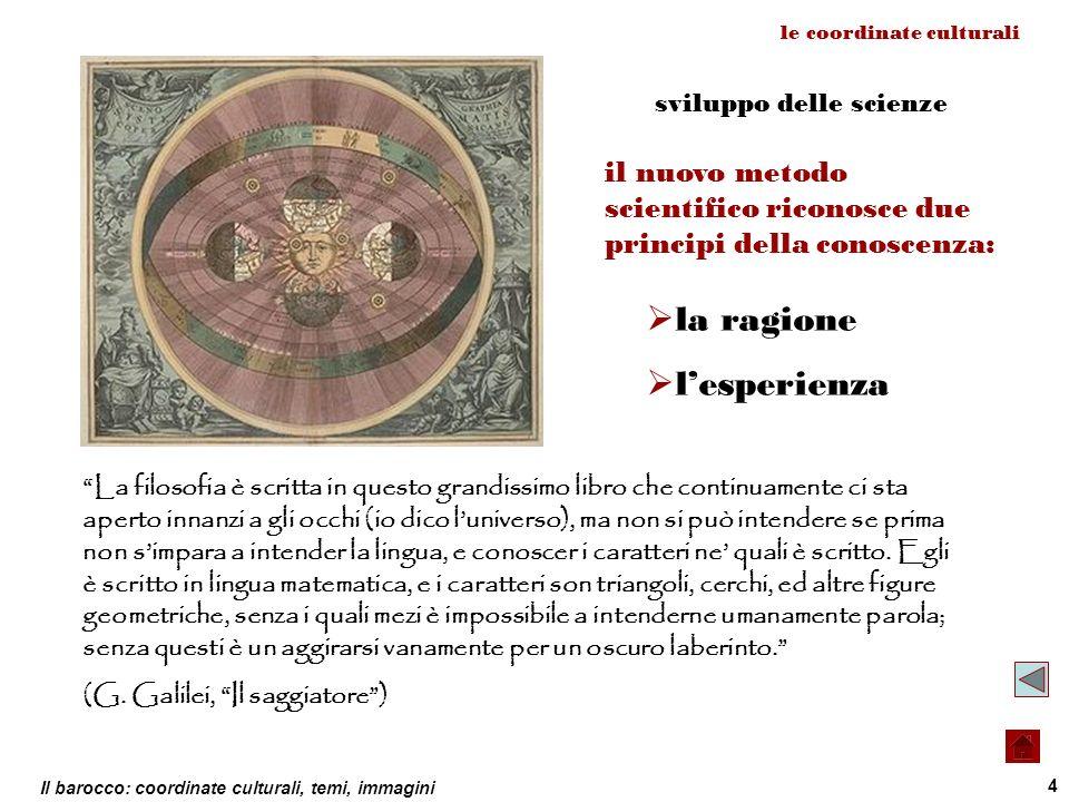 Il barocco: coordinate culturali, temi, immagini 4 le coordinate culturali sviluppo delle scienze La filosofia è scritta in questo grandissimo libro c