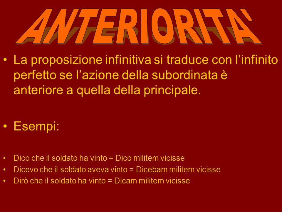 Il tempo dell'infinito è determinato a seconda del rapporto subordinata/principale: INFINITIVA ANTERIORITA Traduce: Infinito perfetto CONTEMPORANEITA