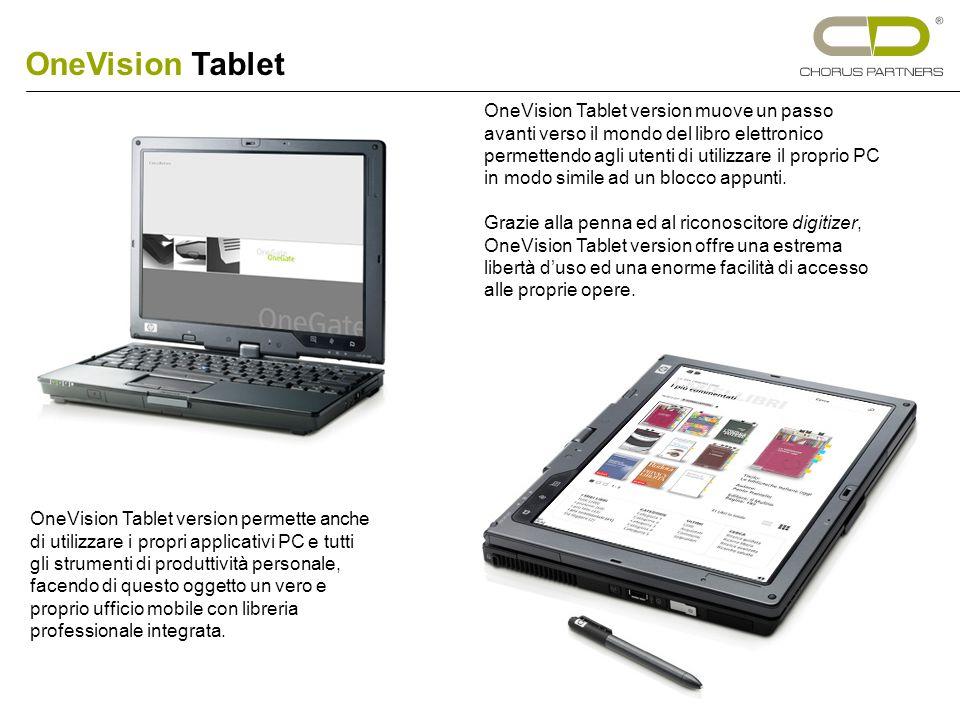 OneVision Tablet version muove un passo avanti verso il mondo del libro elettronico permettendo agli utenti di utilizzare il proprio PC in modo simile ad un blocco appunti.