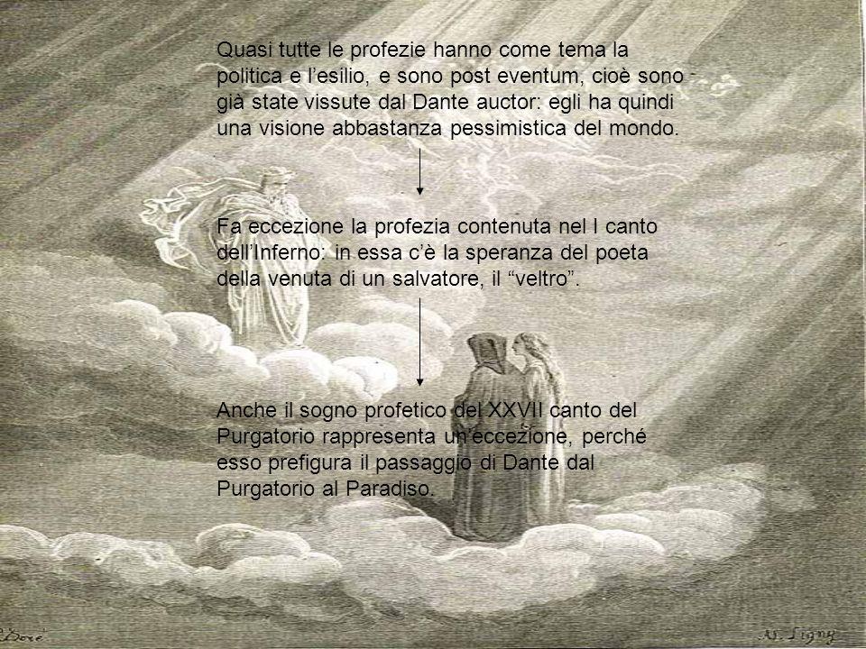 Quasi tutte le profezie hanno come tema la politica e lesilio, e sono post eventum, cioè sono già state vissute dal Dante auctor: egli ha quindi una v