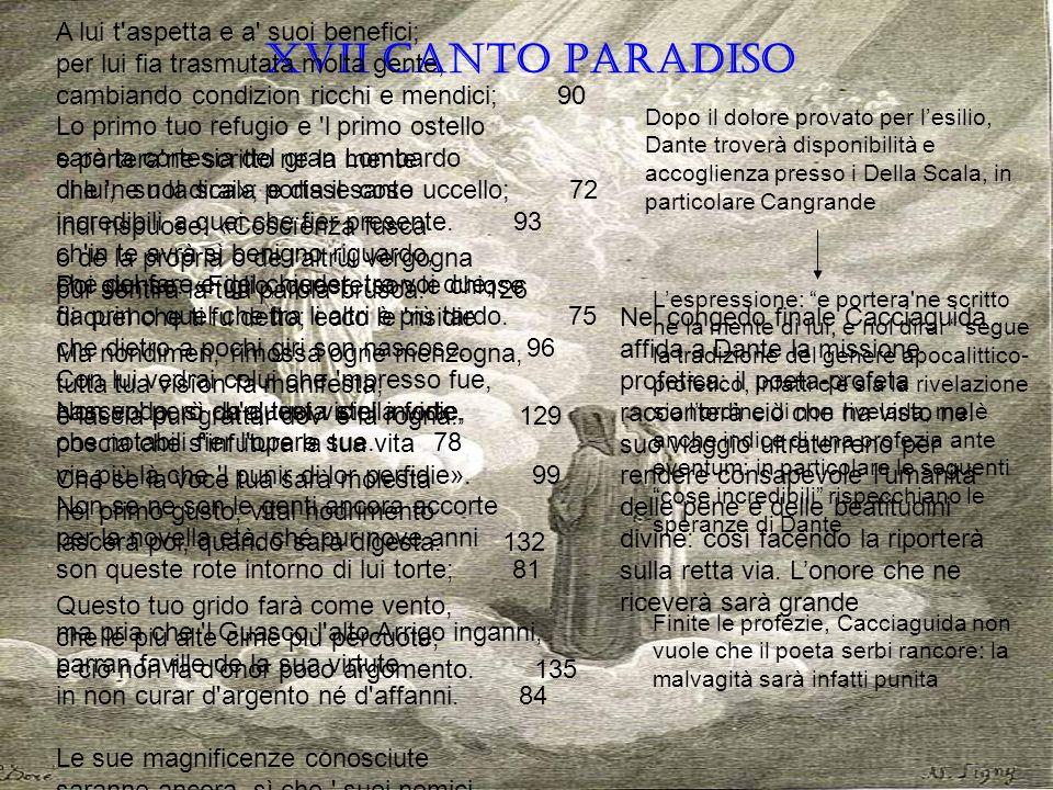 XVII CANTO PARADISO Lo primo tuo refugio e 'l primo ostello sarà la cortesia del gran Lombardo che 'n su la scala porta il santo uccello; 72 ch'in te