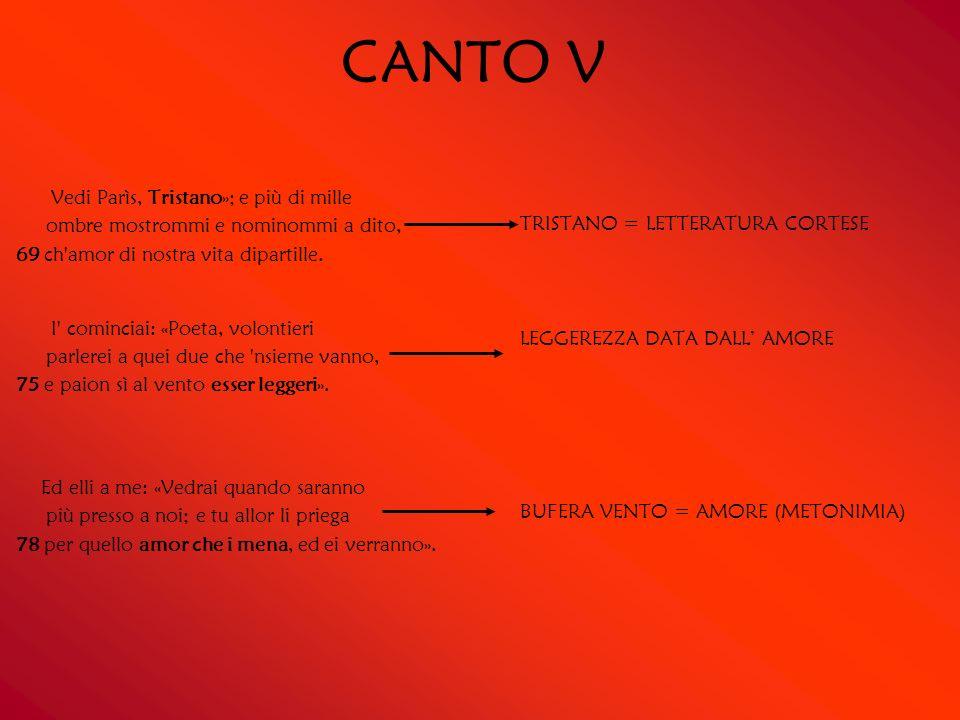 CANTO V Vedi Parìs, Tristano»; e più di mille ombre mostrommi e nominommi a dito, 69 ch amor di nostra vita dipartille.