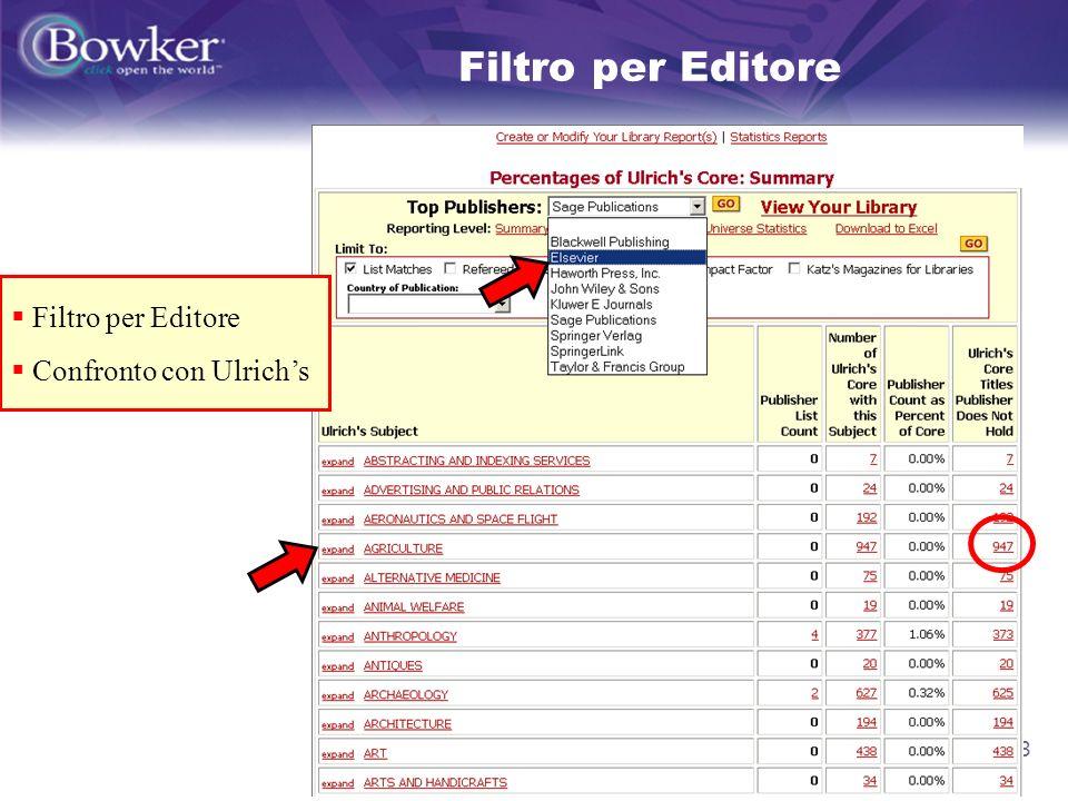 13 Filtro per Editore Confronto con Ulrichs