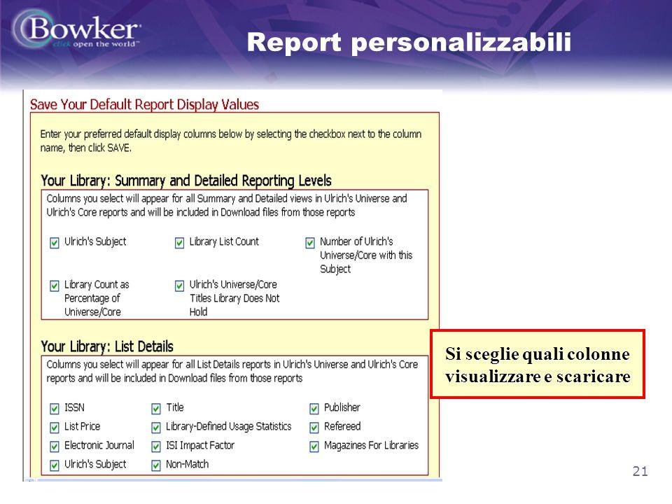 21 Report personalizzabili ceglie quali colonne visualizzare e scaricare Si sceglie quali colonne visualizzare e scaricare