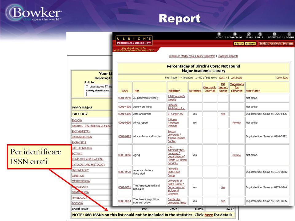22 Report Per identificare ISSN errati