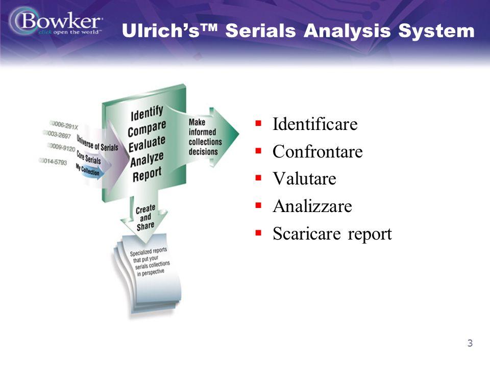 3 Identificare Confrontare Valutare Analizzare Scaricare report