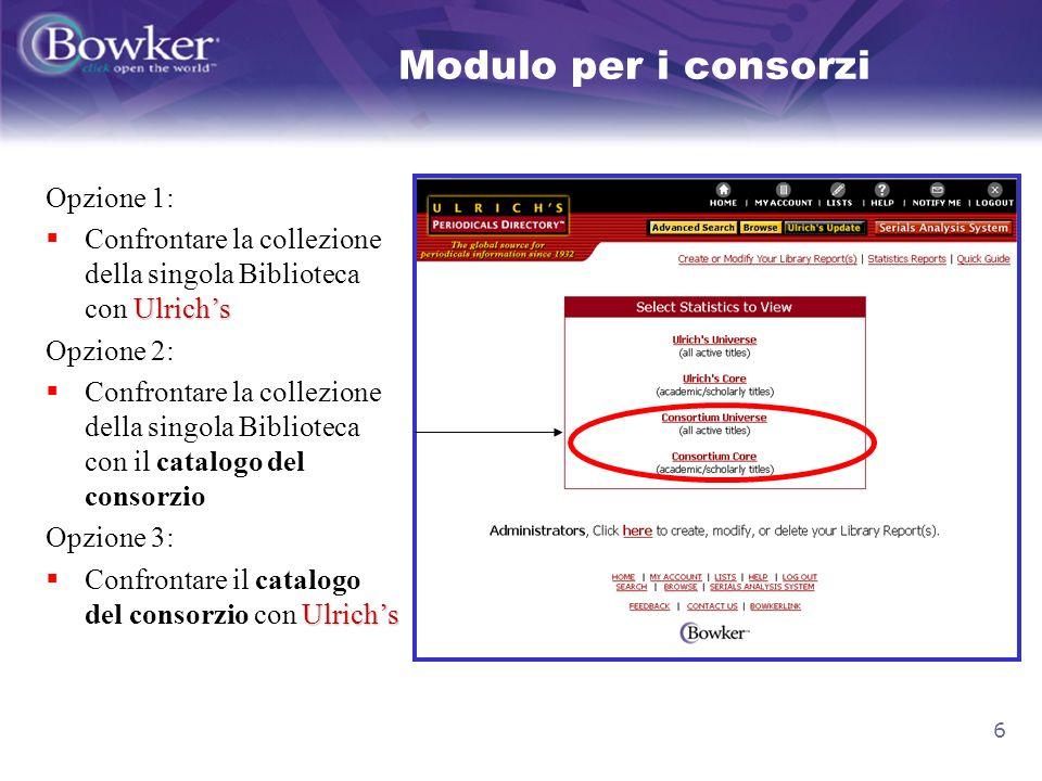 6 Modulo per i consorzi Opzione 1: Ulrichs Confrontare la collezione della singola Biblioteca con Ulrichs Opzione 2: Confrontare la collezione della s