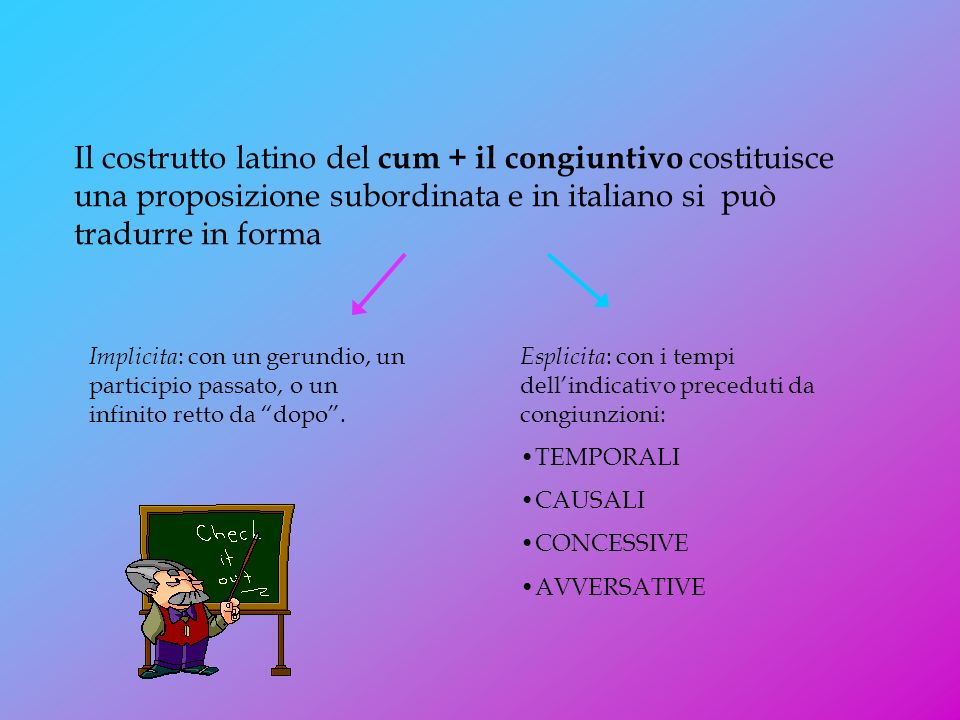 Il costrutto latino del cum + il congiuntivo costituisce una proposizione subordinata e in italiano si può tradurre in forma Implicita : con un gerundio, un participio passato, o un infinito retto da dopo.