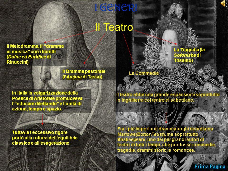 Prima Pagina I GENERI La Lirica Accanto al classicismo si sviluppò lantipetrarchismo, le cui produzioni, sebbene formalmente perfette, trattano di temi ironici e grotteschi.