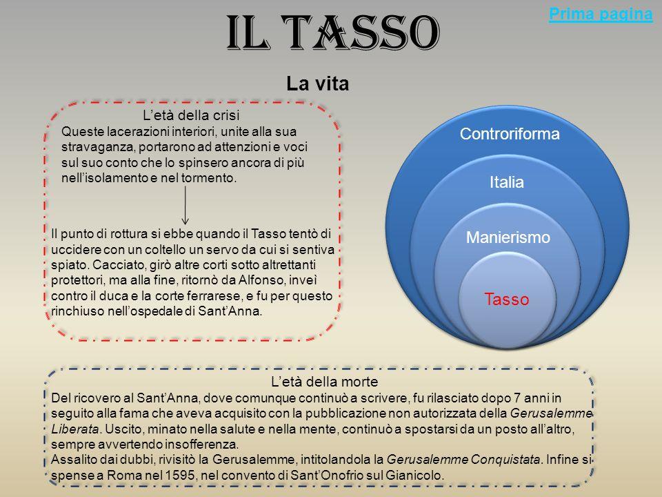 Il Tasso E il più importante autore del mondo tardo cinquecentesco La vita Letà della formazione Nacque nel 1544 da una famiglia nobile decaduta.