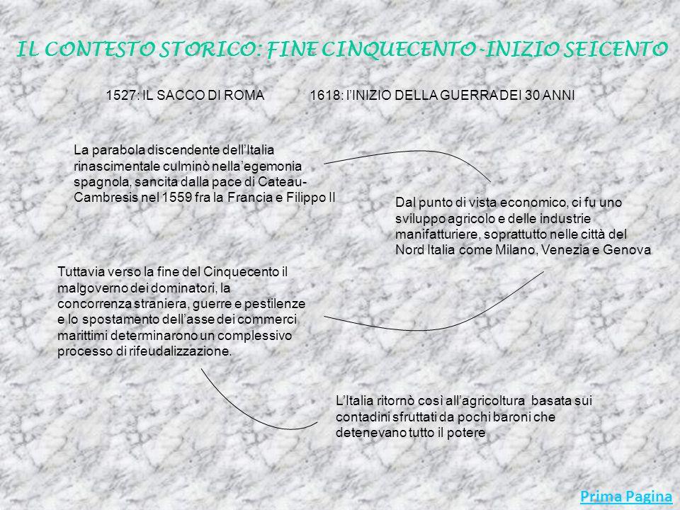 1527: IL SACCO DI ROMA La parabola discendente dellItalia rinascimentale culminò nellaegemonia spagnola, sancita dalla pace di Cateau- Cambresis nel 1559 fra la Francia e Filippo II Dal punto di vista economico, ci fu uno sviluppo agricolo e delle industrie manifatturiere, soprattutto nelle città del Nord Italia come Milano, Venezia e Genova Tuttavia verso la fine del Cinquecento il malgoverno dei dominatori, la concorrenza straniera, guerre e pestilenze e lo spostamento dellasse dei commerci marittimi determinarono un complessivo processo di rifeudalizzazione.