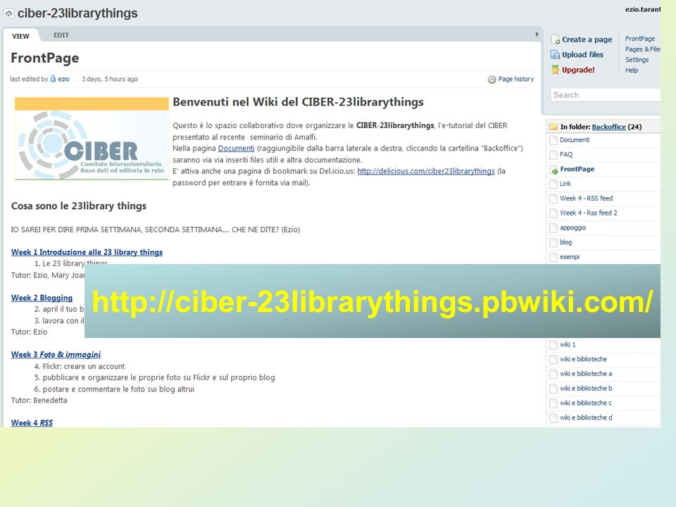 http://ciber-23librarythings.pbwiki.com/